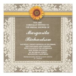 Burlap Lace & Sunflower Bridal Shower Invitations Square Invitation Card