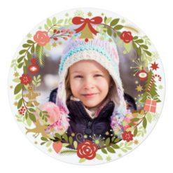 Christmas Photo Cards | Festive Wreath Square Invitation Card