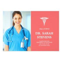 Caduceus Medical Graduation Photo Invitation Card