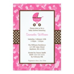 Camo Pink Brown Carriage Dots Baby Shower Invitation Card