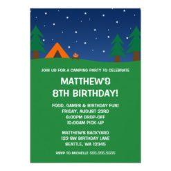 Camping Birthday Party Invitation Card