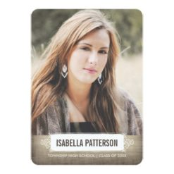 Casual Chic Girl Photo Graduation Invitation Card