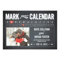 Chalkboard Calendar Photo Save The Date Cards Invitation Card