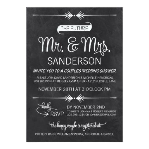 Chalkboard Couples Wedding Shower Invitation Card