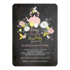 Chalkboard Floral Blooms & Birds Baby Shower Party Paper Invitation Card