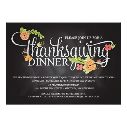 Chalkboard Floral Elegant Thanksgiving Dinner Invitation Card