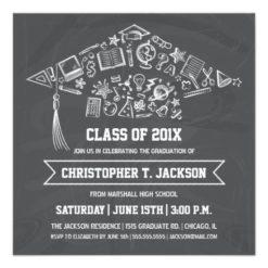 Chalkboard Graduation Cap Invitation With Photo Square Invitation Card