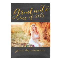 Chalkboard Graduation Party | Gold Foil Invitation Card