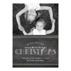 Chalkboard Merry Christmas Holiday Letter Card Invitation Card