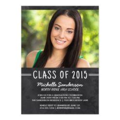 Chalkboard Photo Graduation Party Invitation Card