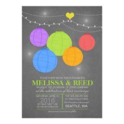 Chalkboard Rainbow Wedding Colorful Paper Lanterns Invitation Card