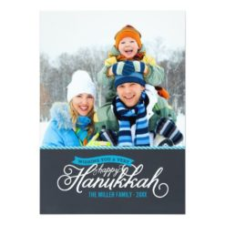 Chalkboard Script Hanukkah Photo Card Invitation Card