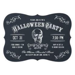 Chalkboard Skull Halloween Costume Party Invitation Card