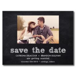 Chalkboard Typography Save The Date Postcard