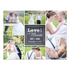Chalked Collage Wedding Photo Thank You Card Invitation Card