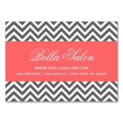 Charcoal Gray And Coral Modern Chevron Stripes Large Business Cards (Pack Of 100)