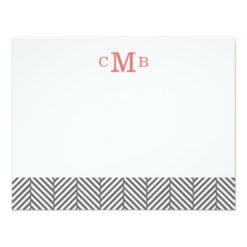 Charcoal Herringbone Custom Monogram Stationery Paper Invitation Card