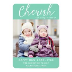 Cherish New Year Photo Card / Custom Color Invitation Card