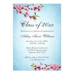 Cherry Blossoms Vintage Blue Graduation Invitation Card