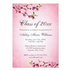 Cherry Blossoms Vintage Pink Graduation Invitation Card