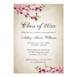 Cherry Blossoms Vintage Tan Graduation Invitation Card