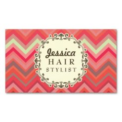 Chevron Pattern Hair Stylist Appointment Cards Double-Sided Standard Business Cards (Pack Of 100)
