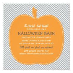 Chevron Pumpkin Halloween Party Invite Square Invitation Card