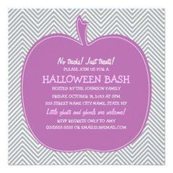 Chevron Purple Pumpkin Halloween Party Invite Square Invitation Card