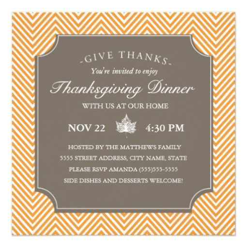 Chevron Thanksgiving Dinner Invite - Orange Square Invitation Card