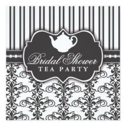 Chic Damask & Stripe Bridal Shower Tea Invitation Square Invitation Card