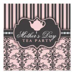 Chic Damask & Stripe Mother'S Day Tea Invitation Square Invitation Card