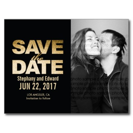 Chic Faux Gold Save The Date Photo Postcard