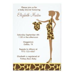 Chic Giraffe Print Baby Shower Invitation Card