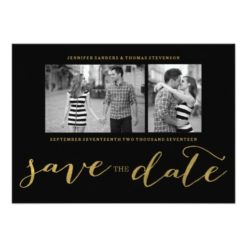 Chic Gold Foil Handwritten | Photo Save The Date Invitation Card