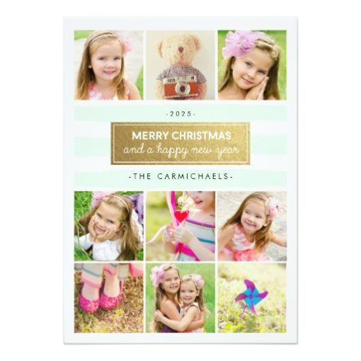 Chic Mint Gold Photo Collage Holidays Card Invitation Card
