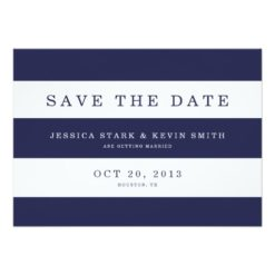Chic Navy Stripes Save The Date Invitation Card