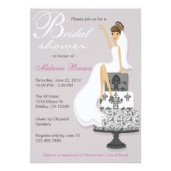 Chic Pink Modern Bride Contemporary Bridal Shower Invitation Card