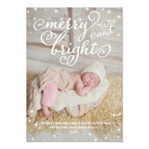Chic Sparkling Merry & Bright Holidays Photo Card Invitation Card
