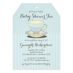 Chic Teacup In Blue Baby Shower Tea Party Invitation Card