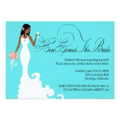 Chic Teal Black Coral Here Comes The Bride Invitation Card