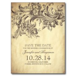 Chic Vintage Floral Swirls Save The Date Postcards
