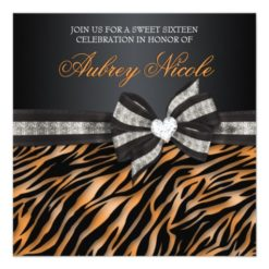 Chic Zebra Sweet Sixteen Invite With Jeweled Bow Square Invitation Card