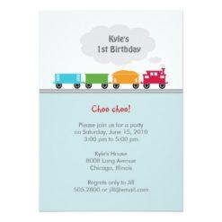 Choo Choo Train Birthday Party Invitation Card