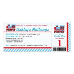 Choo Choo Train Ticket Birthday Party Invitation Card