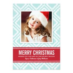Christmas Photo Card | Red And Blue Ikat Pattern Invitation Card