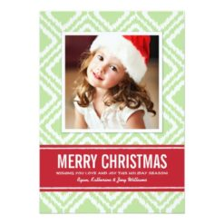 Christmas Photo Card | Red And Green Ikat Pattern Invitation Card