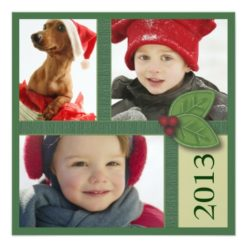 Christmas Photo Trio In Green Holly Berry Greeting Square Paper Invitation Card