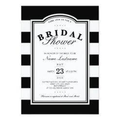 Classy Black White Striped Bridal Shower Invitation Card
