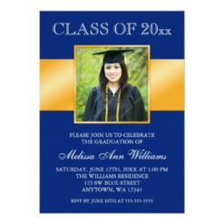 Classy Blue Gold Photo Graduation Announcement Invitation Card