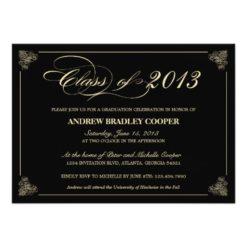 Classy Elegant Black 2013 Graduation Invitation Card